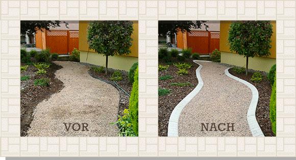 Gartenflächen strukturiert gestalten und optisch perfekt in Szene setzen. <br>Mähkanten von Pro-Intex